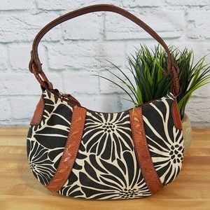 Fossil Leather & Floral Canvas Bag